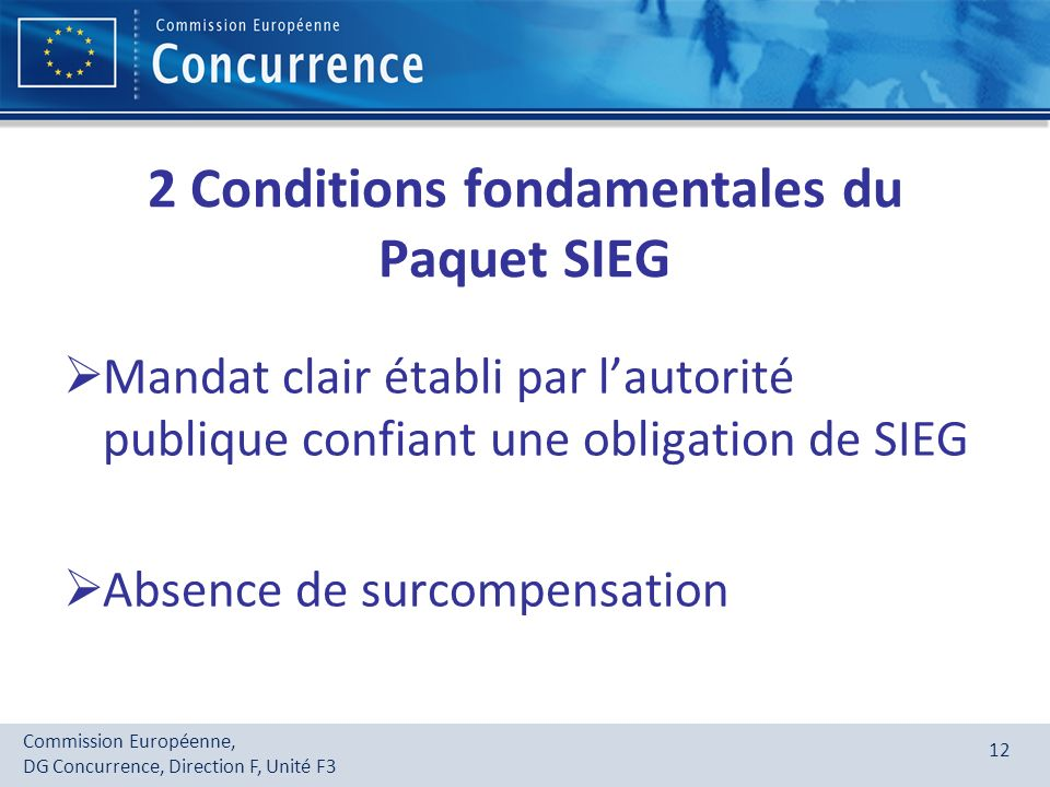 2 Conditions fondamentales du Paquet SIEG