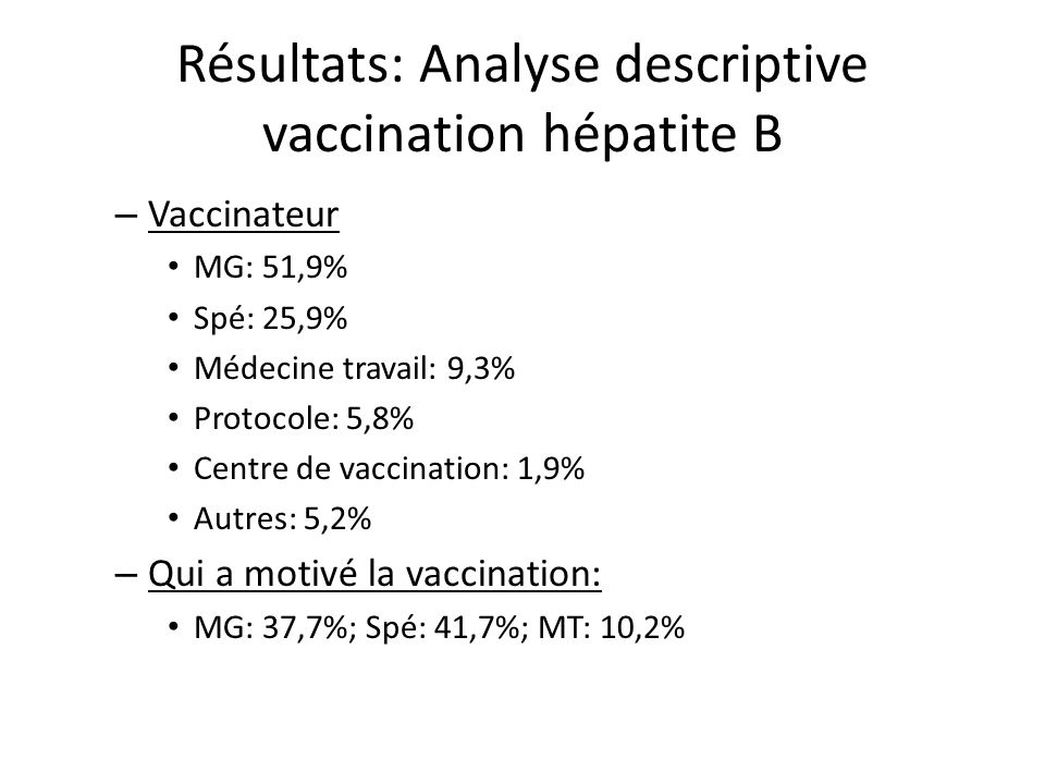 Résultats: Analyse descriptive vaccination hépatite B