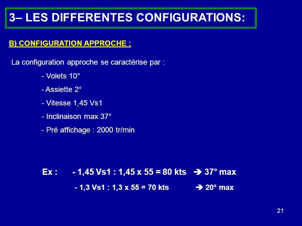 3– LES DIFFERENTES CONFIGURATIONS: