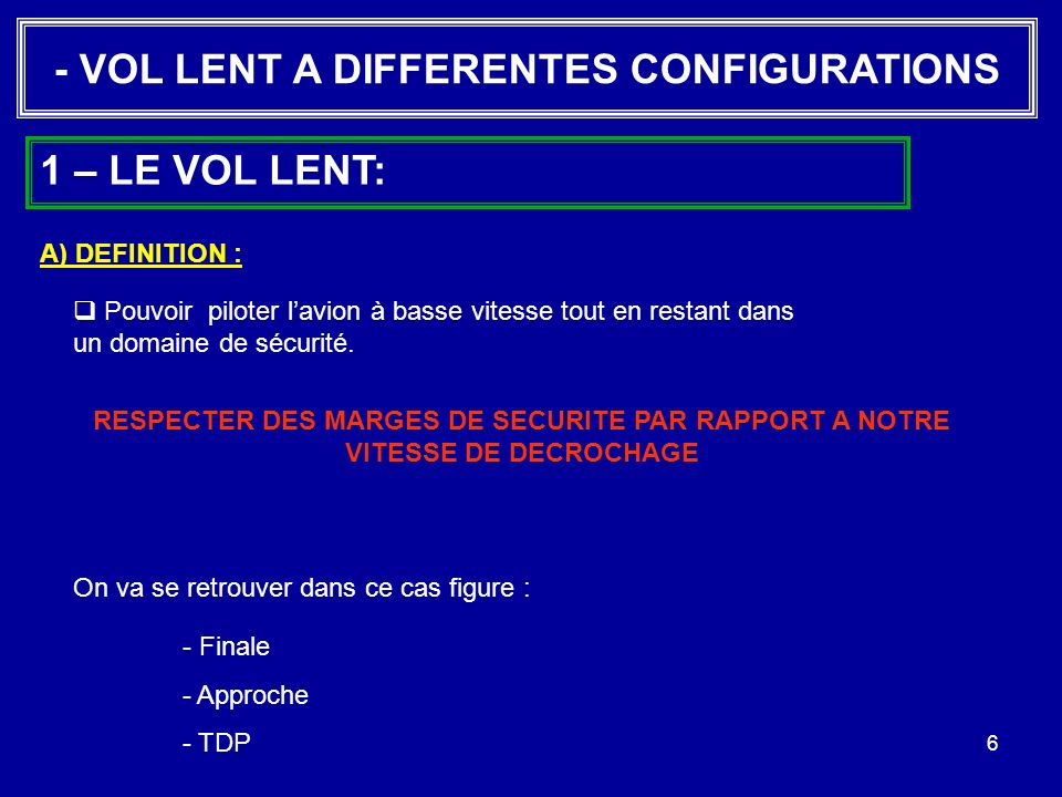 - VOL LENT A DIFFERENTES CONFIGURATIONS