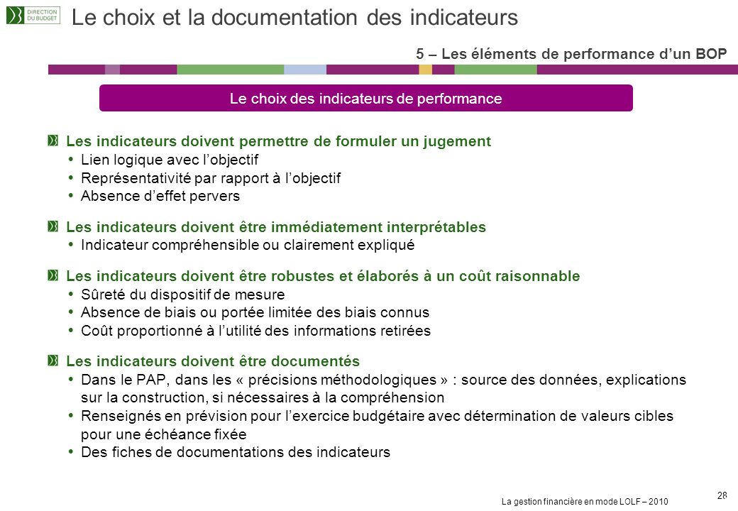 Le choix et la documentation des indicateurs