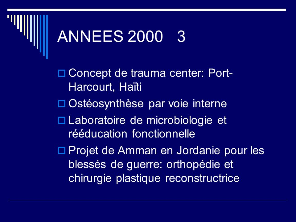 ANNEES Concept de trauma center: Port-Harcourt, Haïti