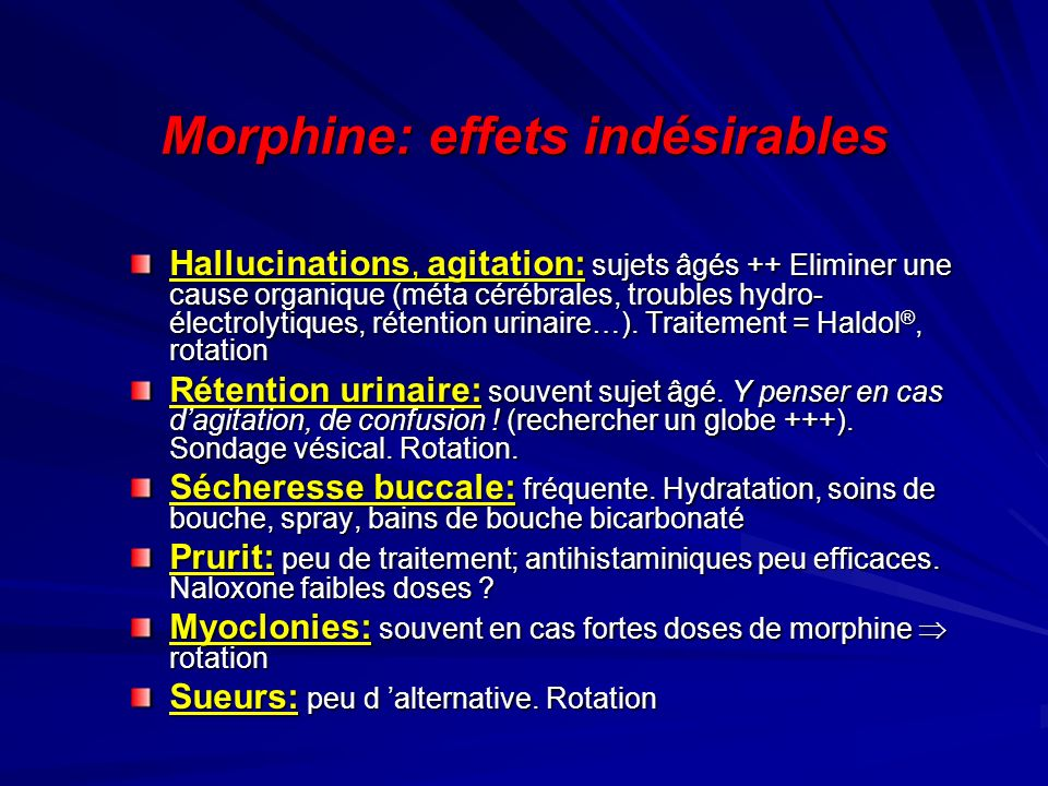 Morphine: effets indésirables
