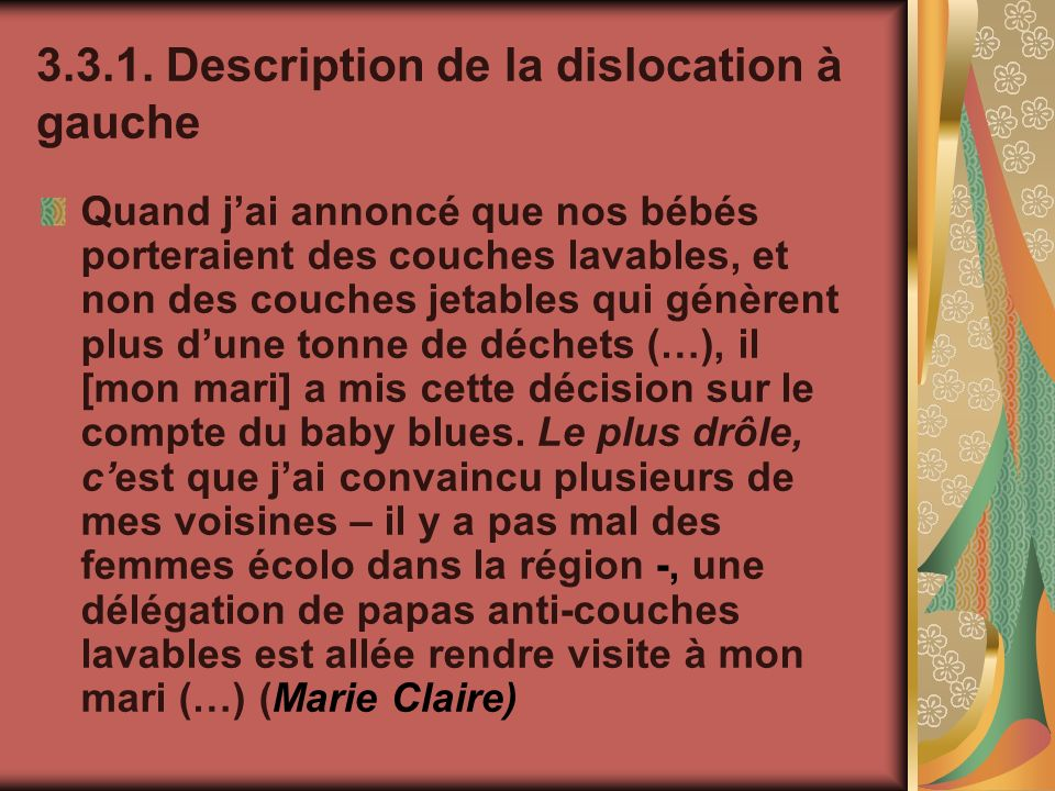 Description de la dislocation à gauche