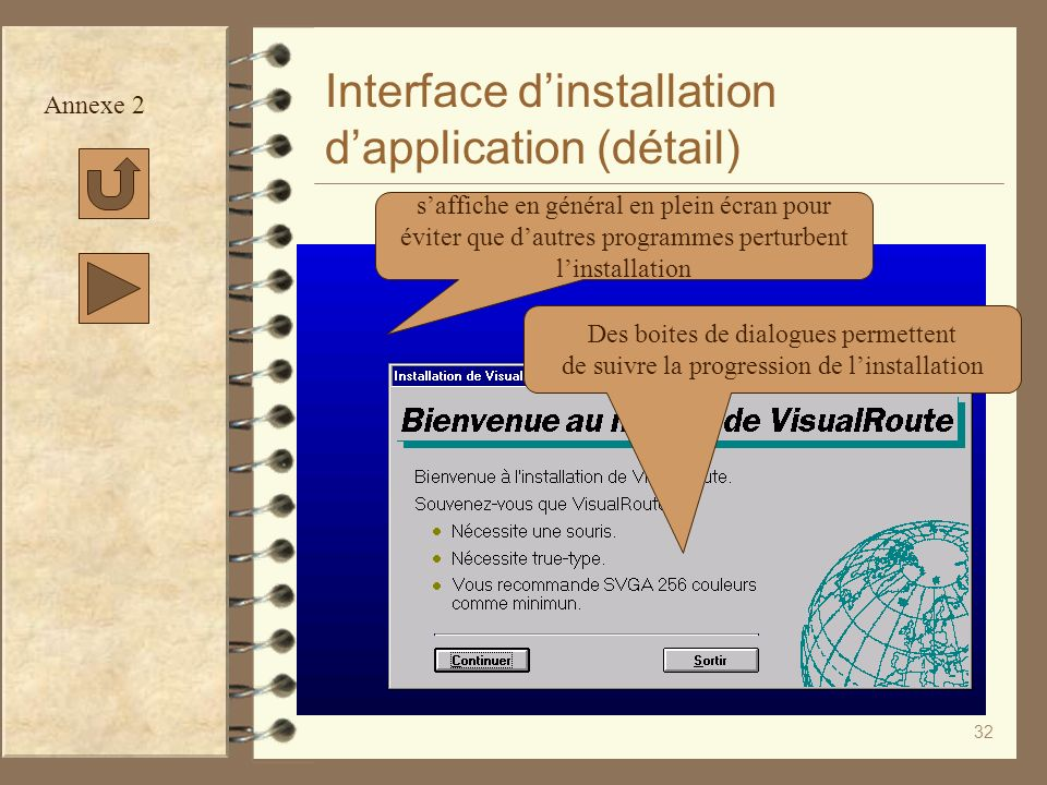 Interface d'installation d'application (détail)