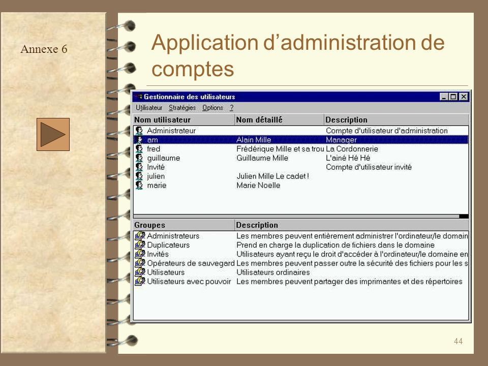 Application d'administration de comptes