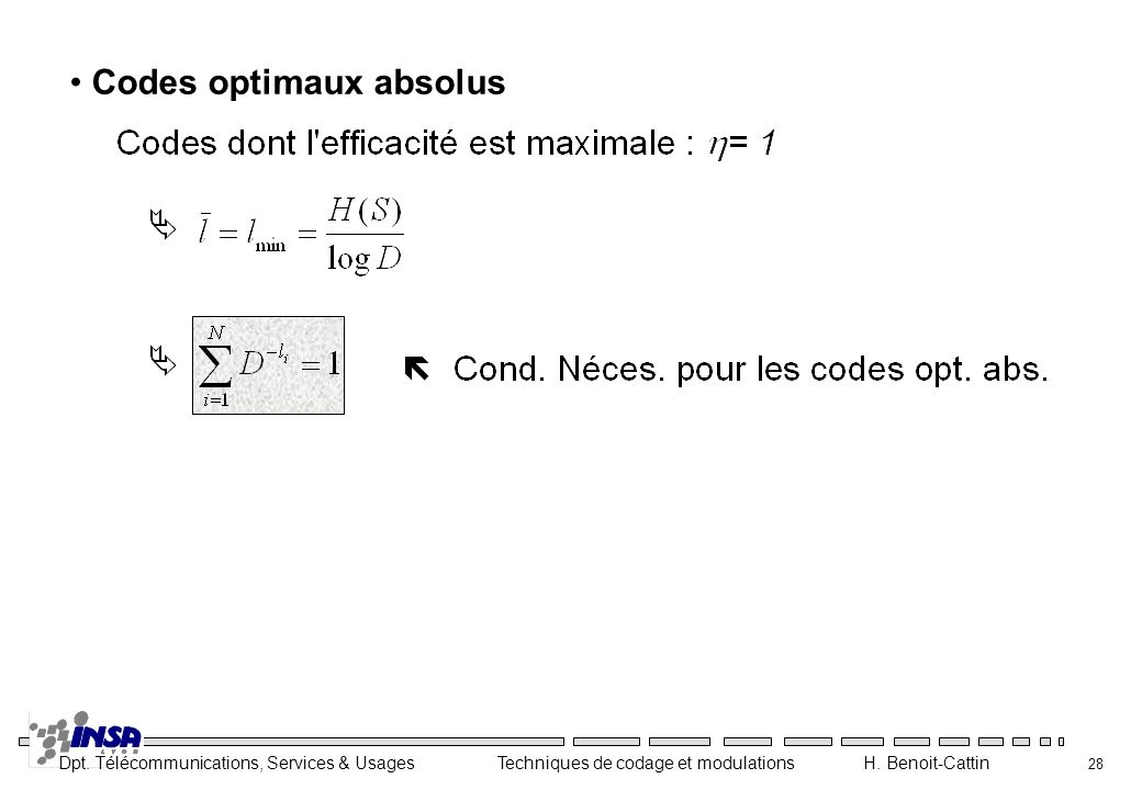 Codes optimaux absolus