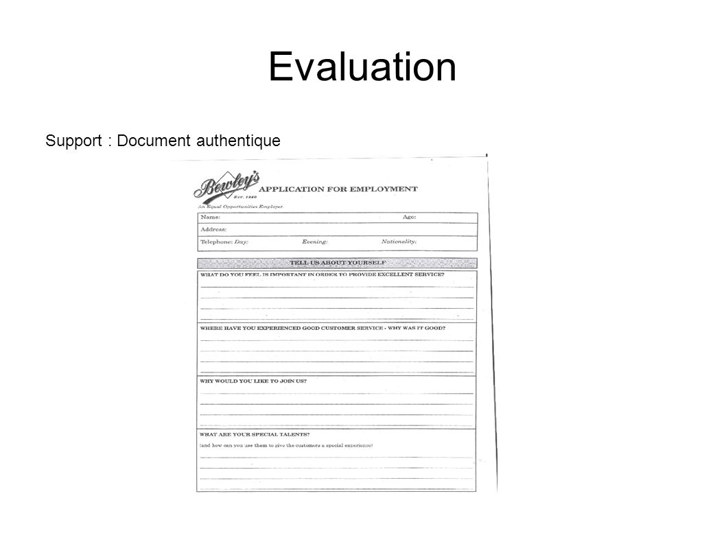 Evaluation Support : Document authentique