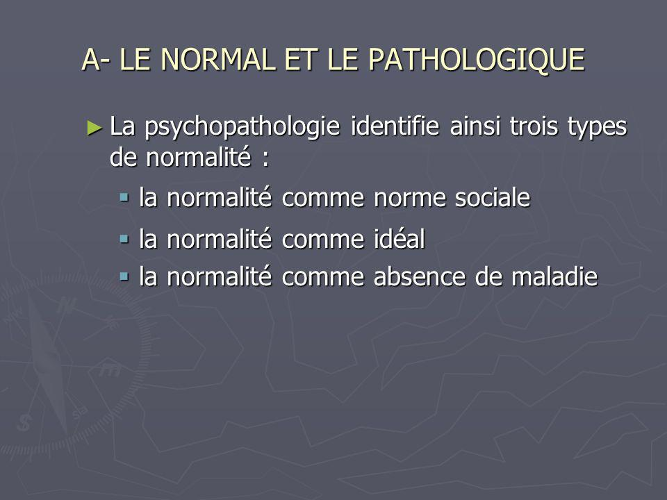 A- LE NORMAL ET LE PATHOLOGIQUE