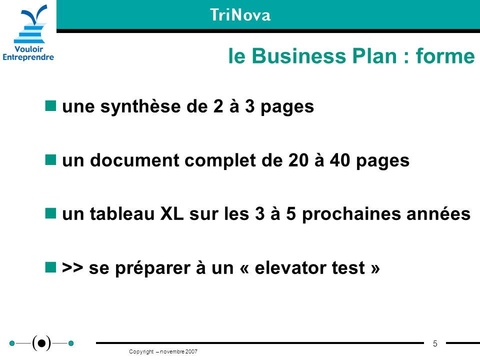 le Business Plan : forme