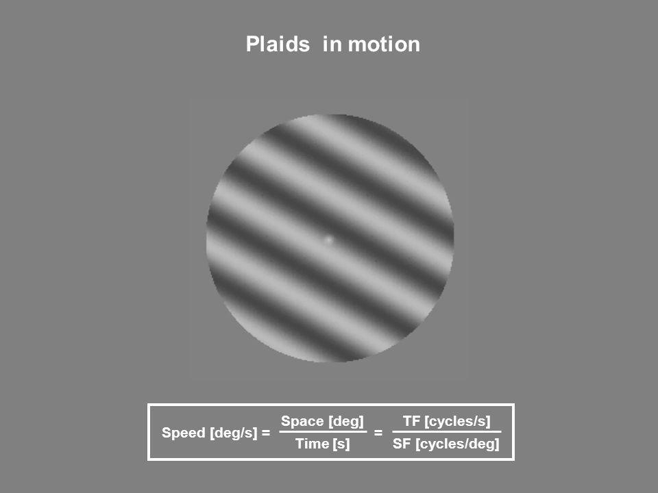 Plaids in motion Speed [deg/s] = Space [deg] Time [s] = TF [cycles/s]
