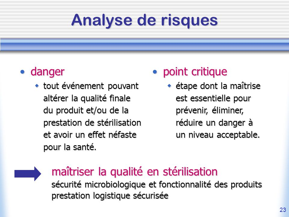 Analyse de risques danger point critique
