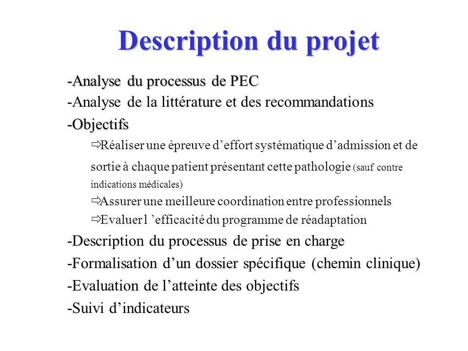 Description du projet -Analyse du processus de PEC