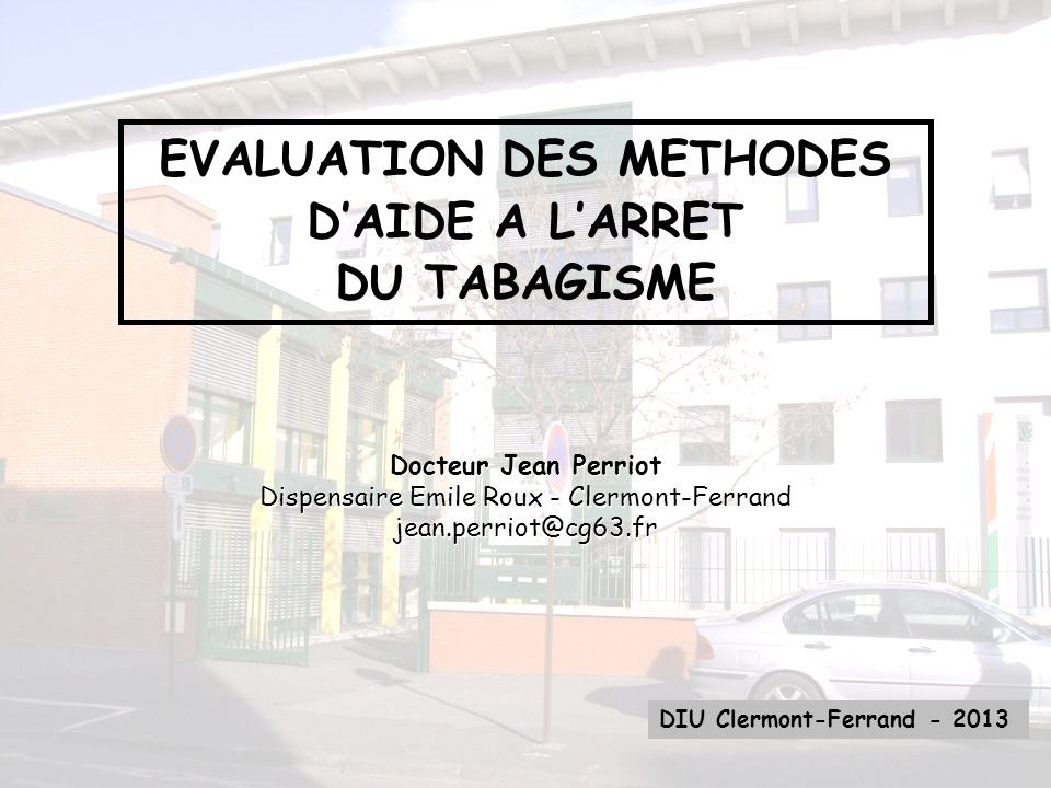 EVALUATION DES METHODES D'AIDE A L'ARRET DU TABAGISME