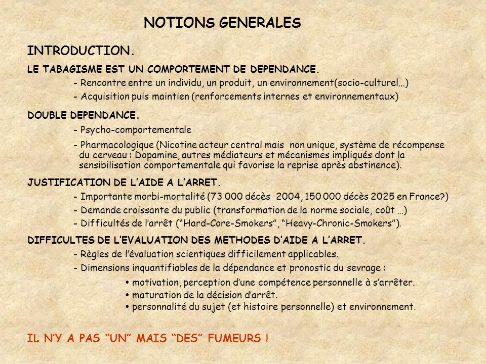 NOTIONS GENERALES INTRODUCTION. IL N'Y A PAS UN MAIS DES FUMEURS !