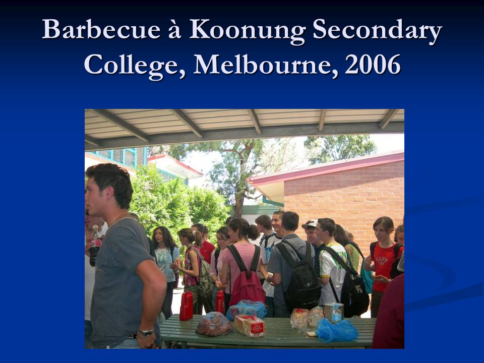 Barbecue à Koonung Secondary College, Melbourne, 2006