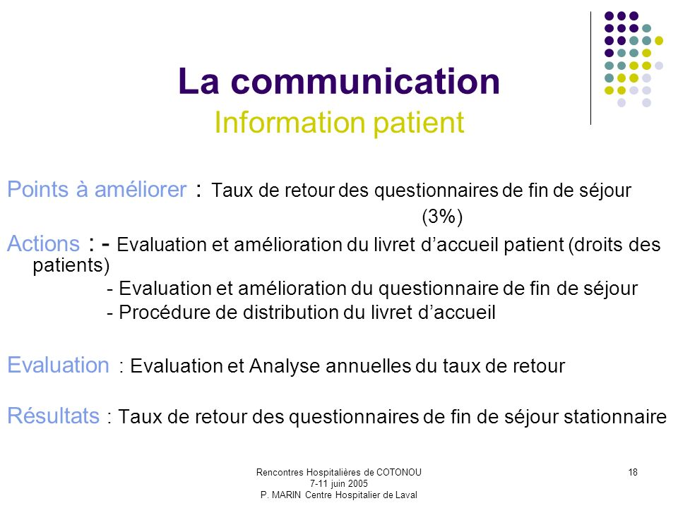 La communication Information patient