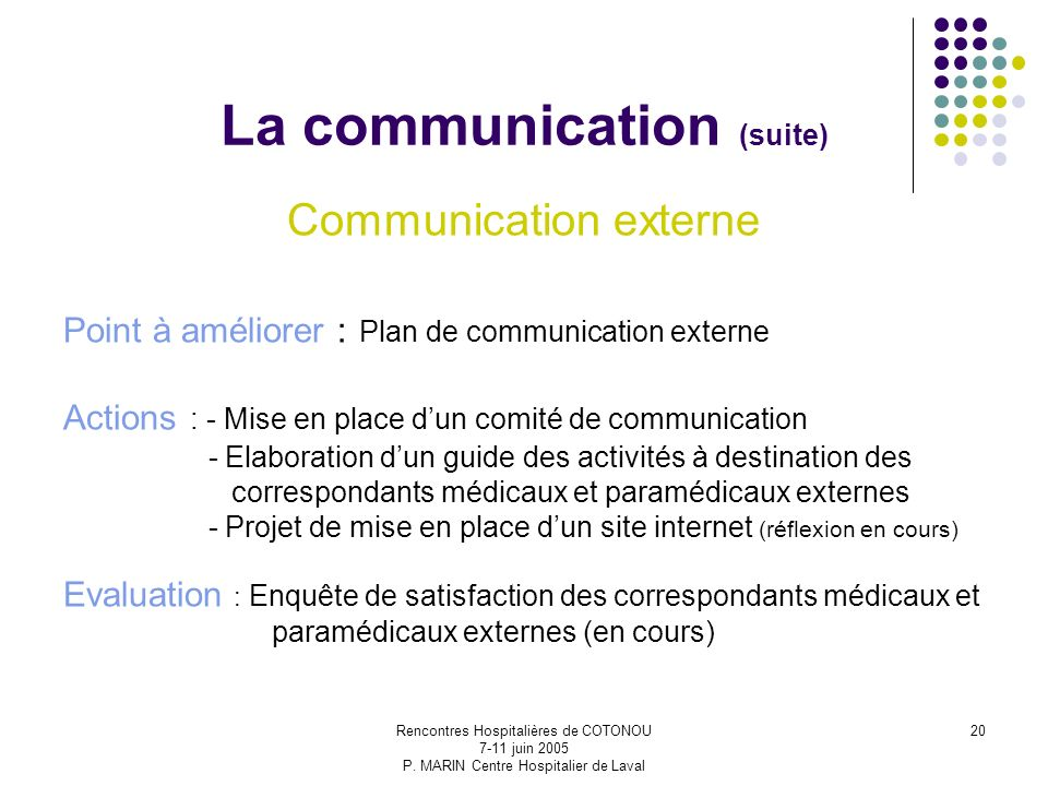 La communication (suite)