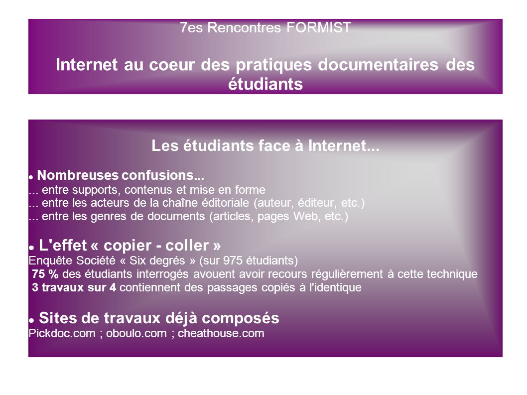 Les étudiants face à Internet...