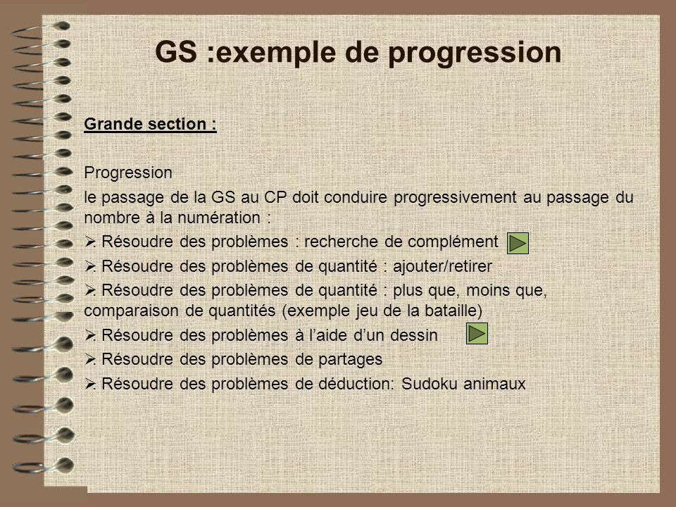 GS :exemple de progression