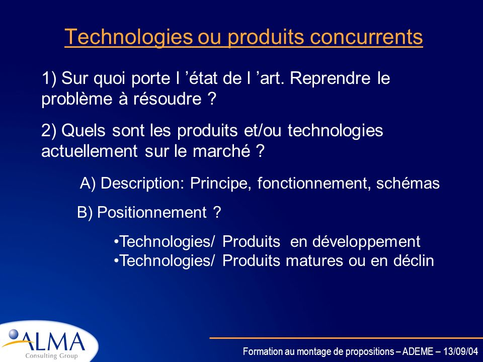 Technologies ou produits concurrents