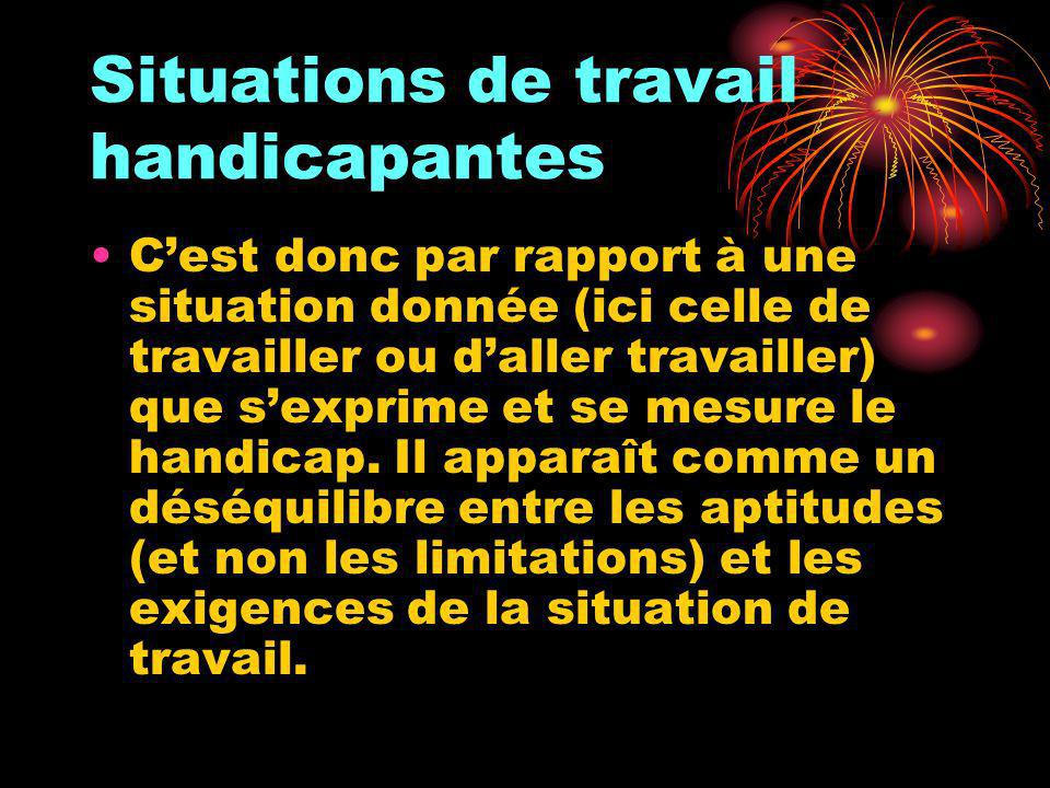 Situations de travail handicapantes