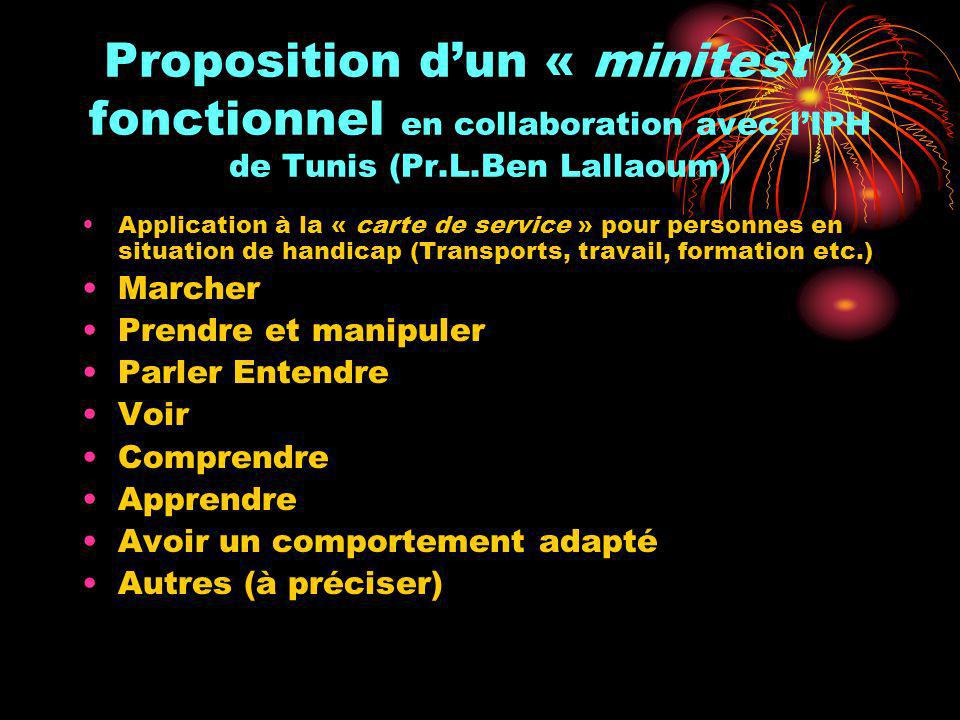 Proposition d'un « minitest » fonctionnel en collaboration avec l'IPH de Tunis (Pr.L.Ben Lallaoum)
