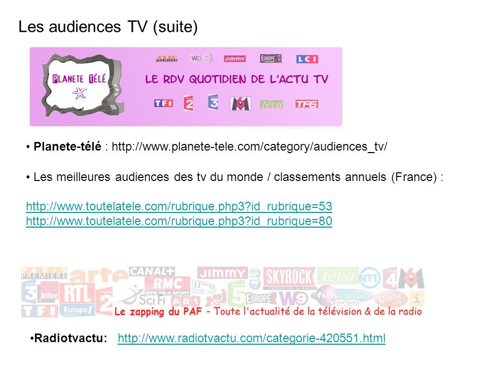 Les audiences TV (suite)