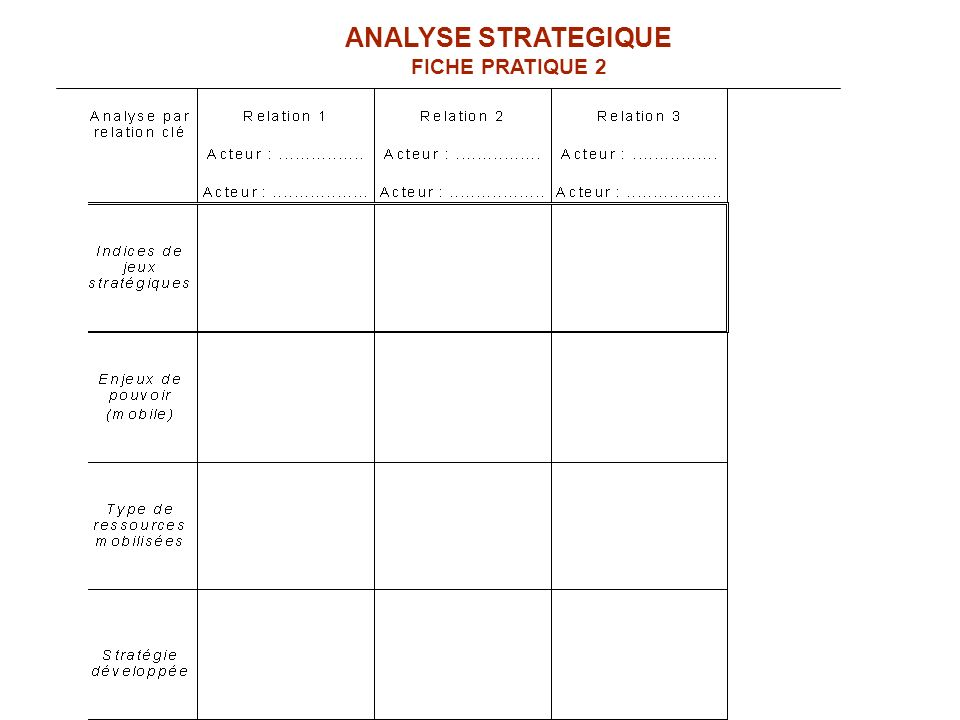 ANALYSE STRATEGIQUE FICHE PRATIQUE 2