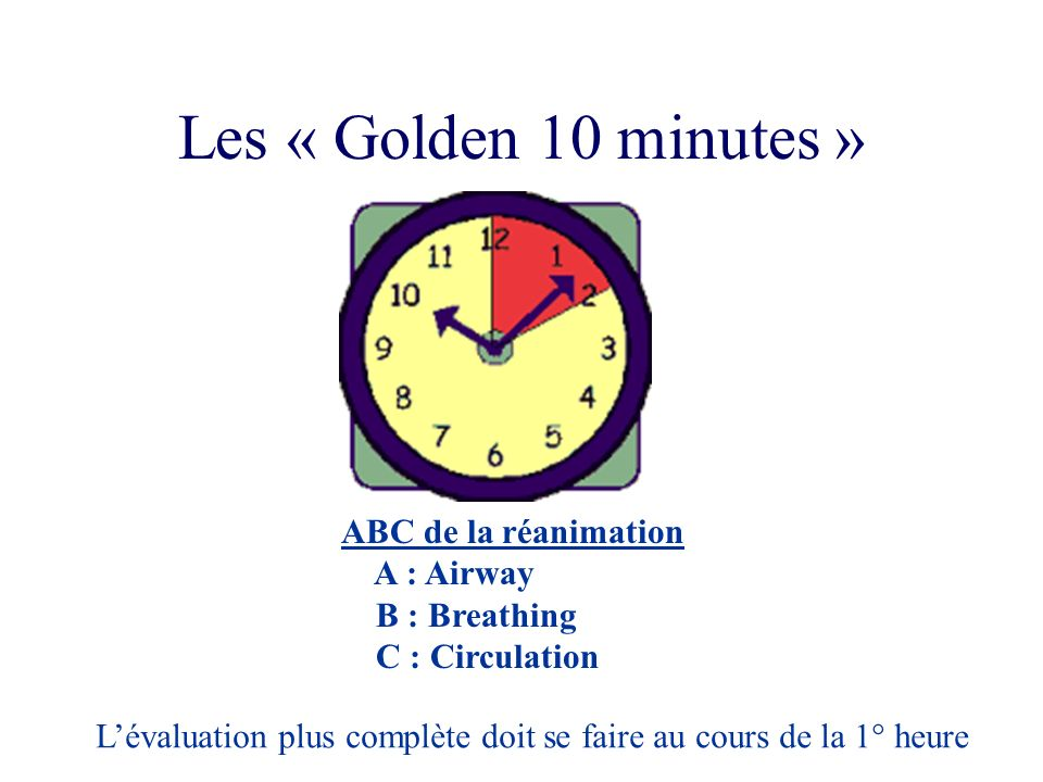 Les « Golden 10 minutes » ABC de la réanimation A : Airway
