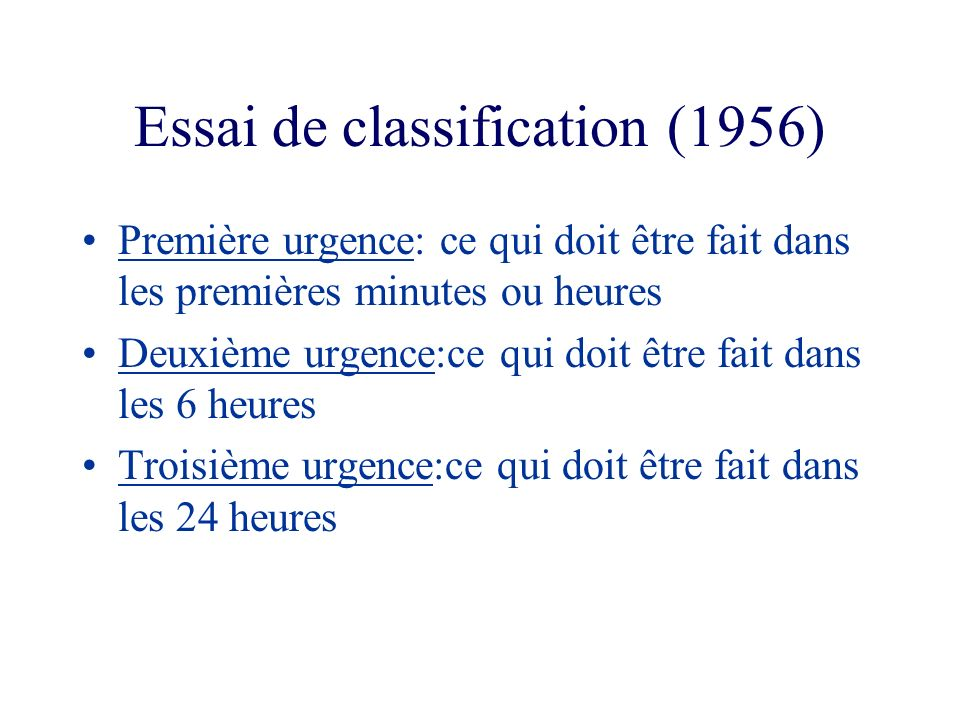 Essai de classification (1956)