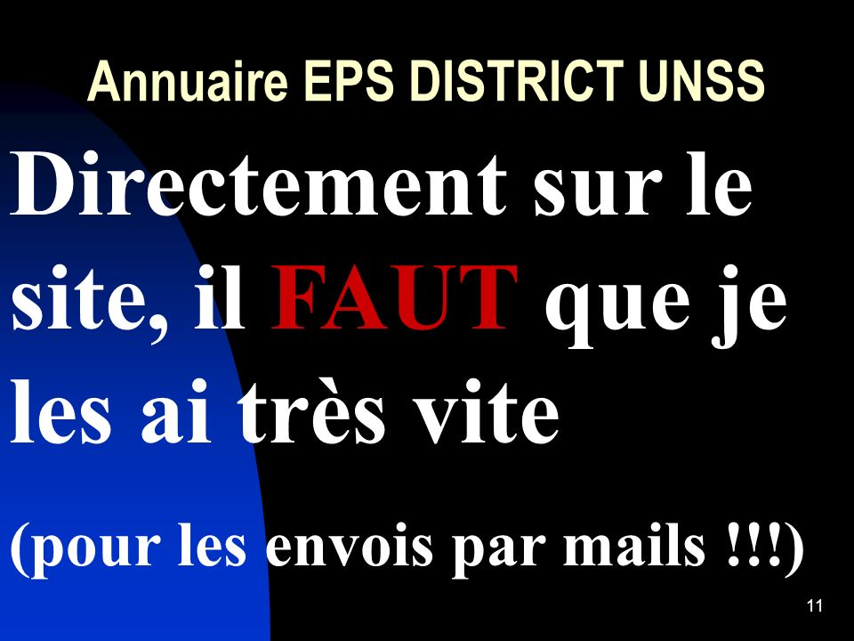 Annuaire EPS DISTRICT UNSS