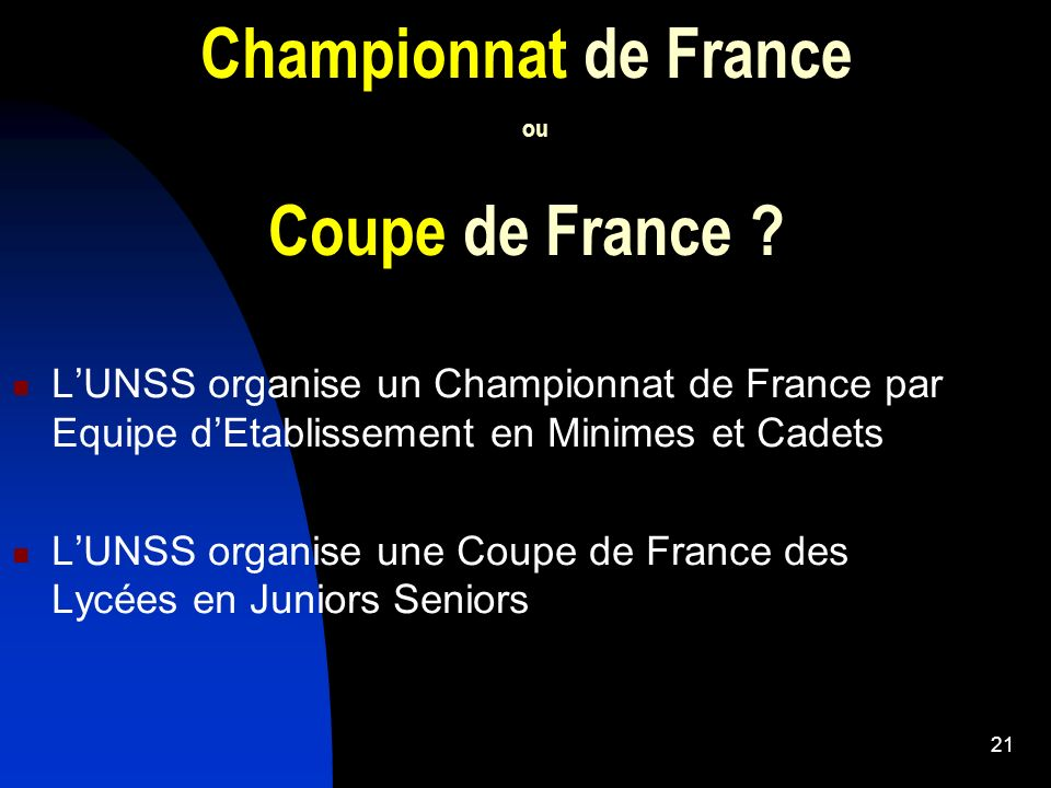 Championnat de France ou Coupe de France
