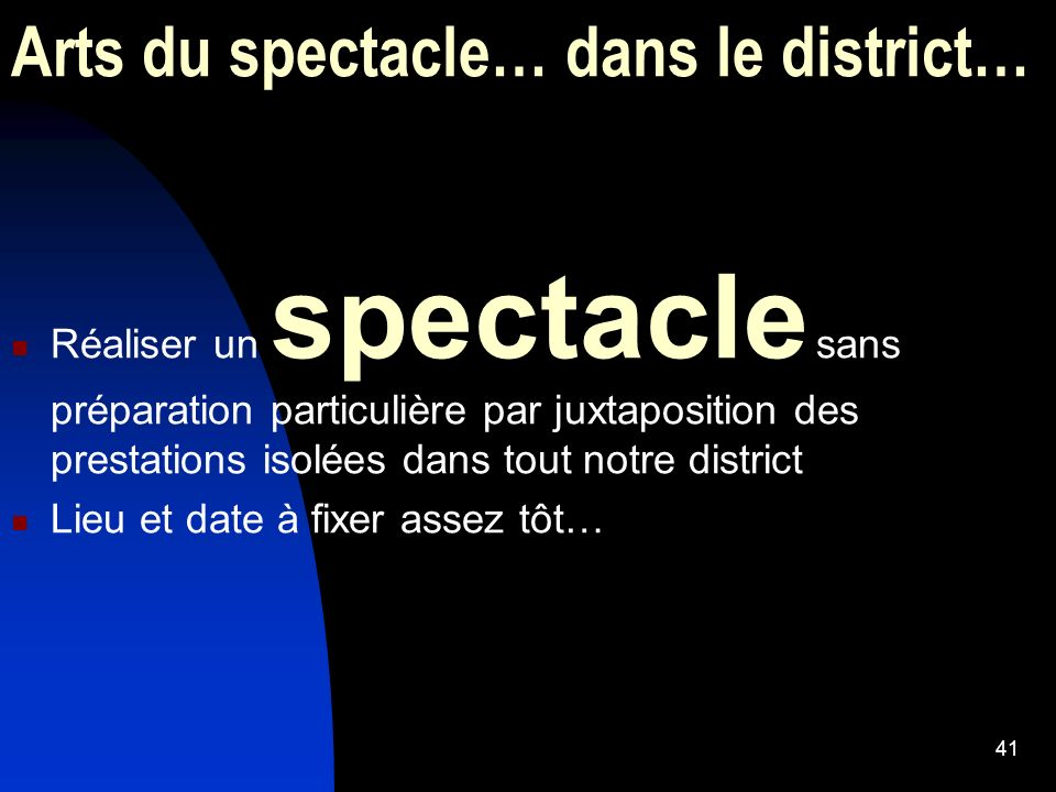Arts du spectacle… dans le district…