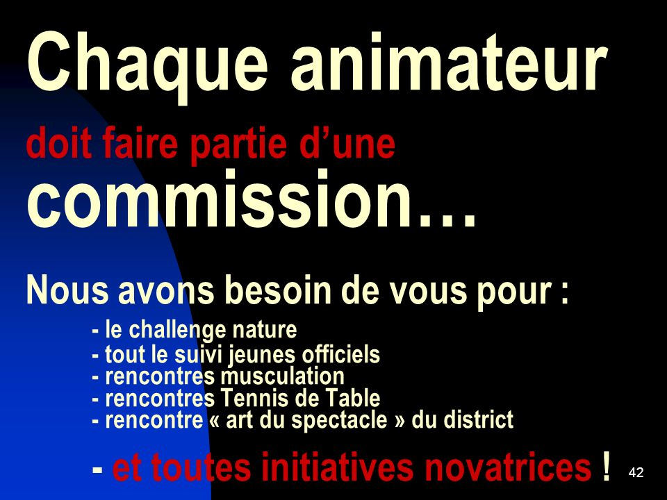 Chaque animateur doit faire partie d'une commission… Nous avons besoin de vous pour : - le challenge nature - tout le suivi jeunes officiels - rencontres musculation - rencontres Tennis de Table - rencontre « art du spectacle » du district - et toutes initiatives novatrices !