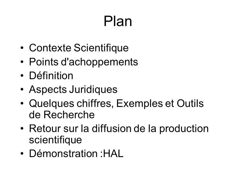 Plan Contexte Scientifique Points d achoppements Définition