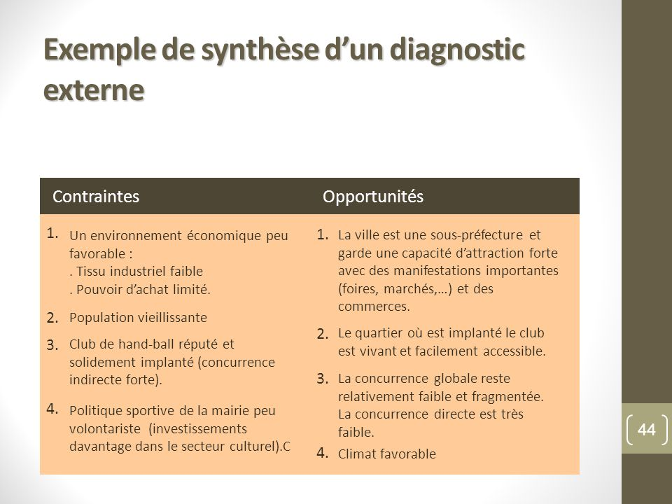 Exemple de synthèse d'un diagnostic externe