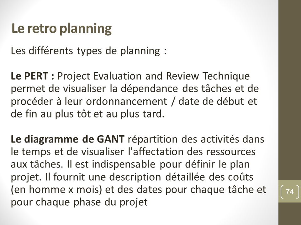 Le retro planning Les différents types de planning :
