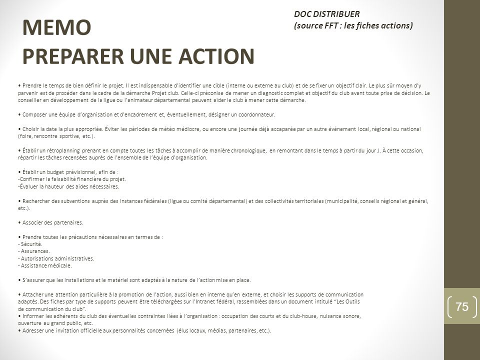 MEMO PREPARER UNE ACTION DOC DISTRIBUER