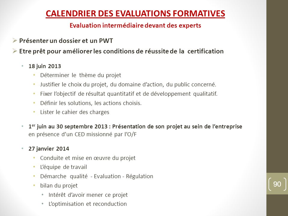 CALENDRIER DES EVALUATIONS FORMATIVES