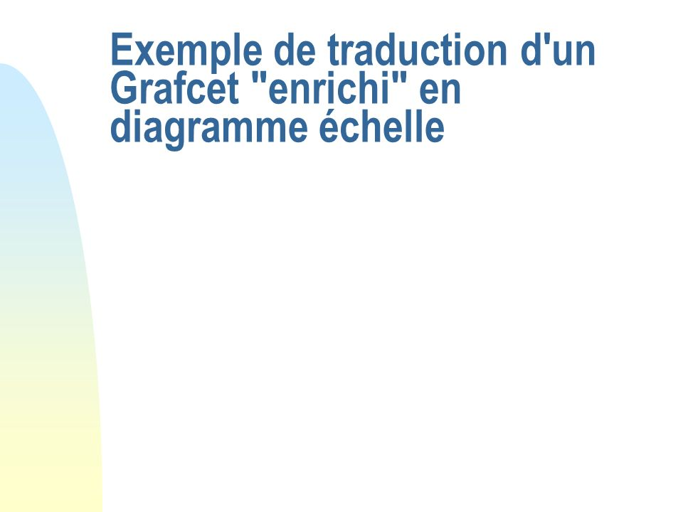 Exemple de traduction d un Grafcet enrichi en diagramme échelle
