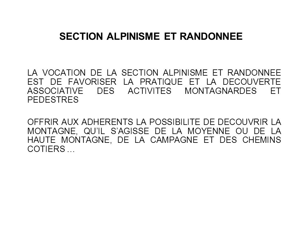 SECTION ALPINISME ET RANDONNEE