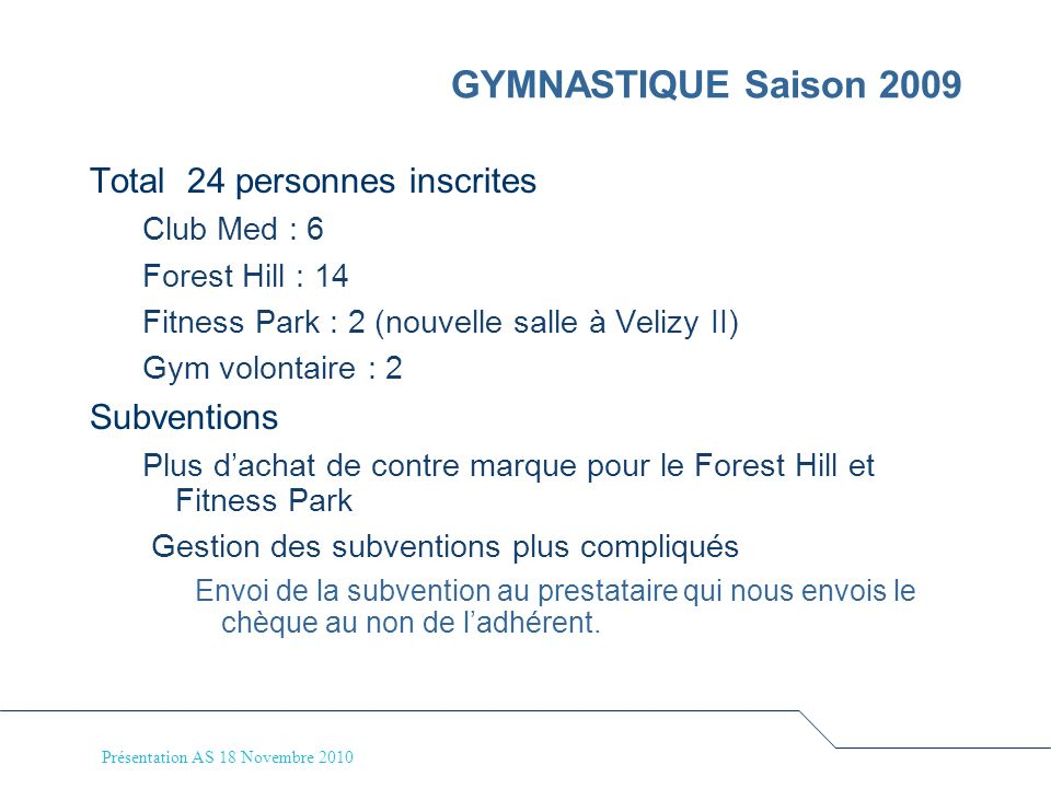 GYMNASTIQUE Saison 2009 Total 24 personnes inscrites Subventions