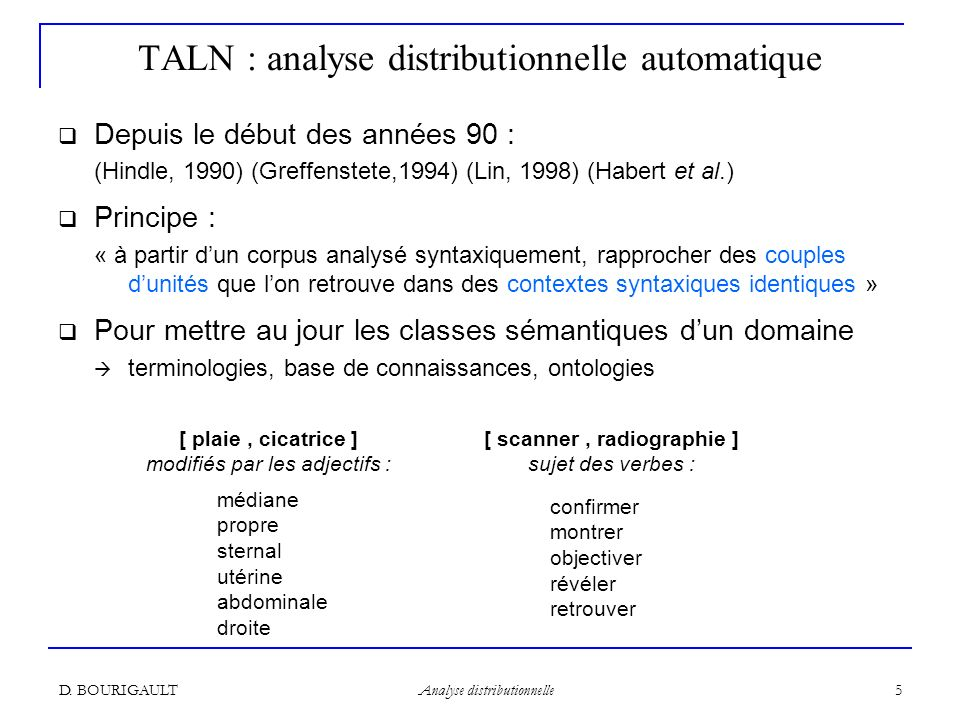 TALN : analyse distributionnelle automatique
