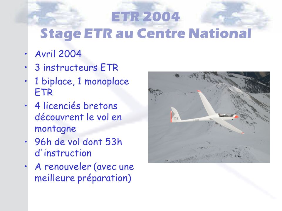 ETR 2004 Stage ETR au Centre National