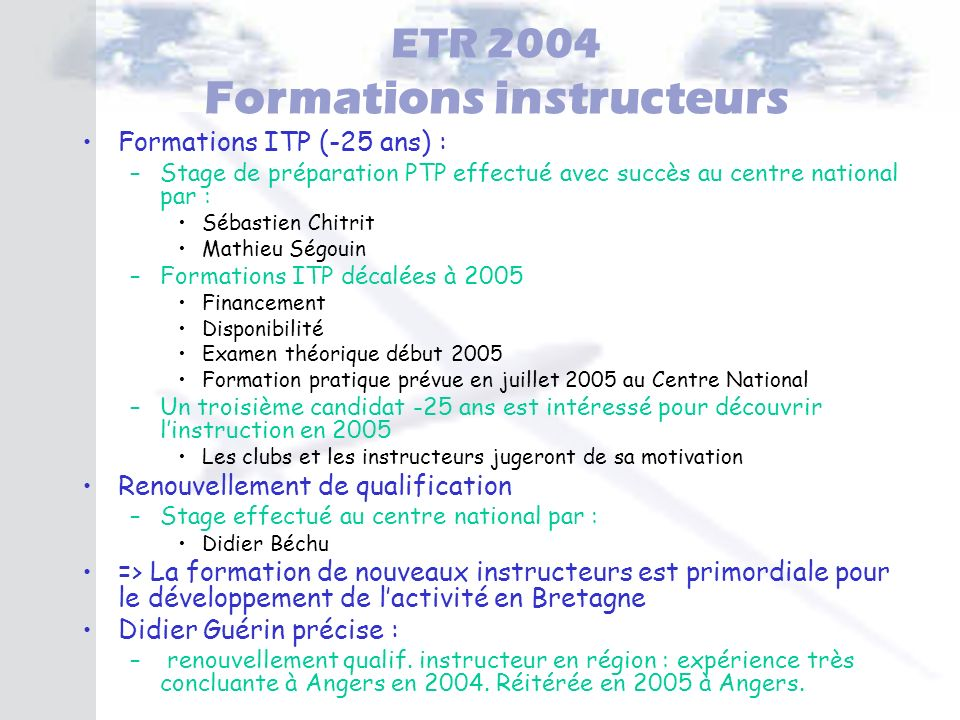 ETR 2004 Formations instructeurs