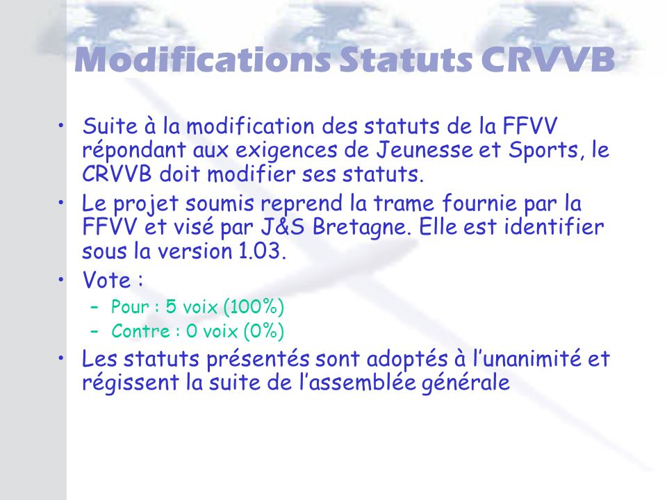 Modifications Statuts CRVVB