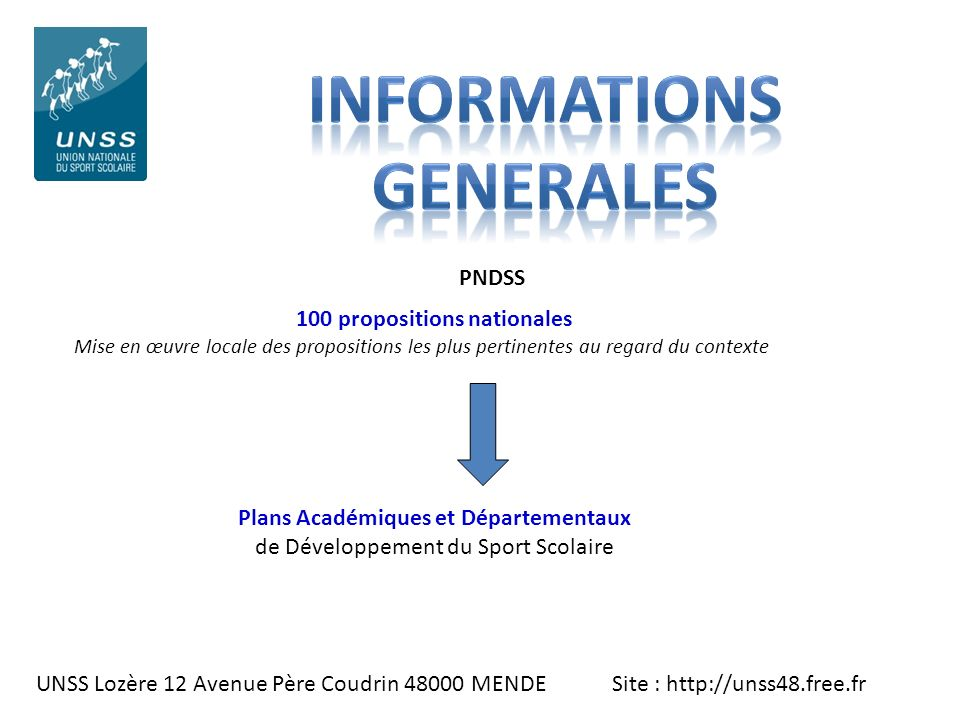 INFORMATIONS GENERALES 100 propositions nationales