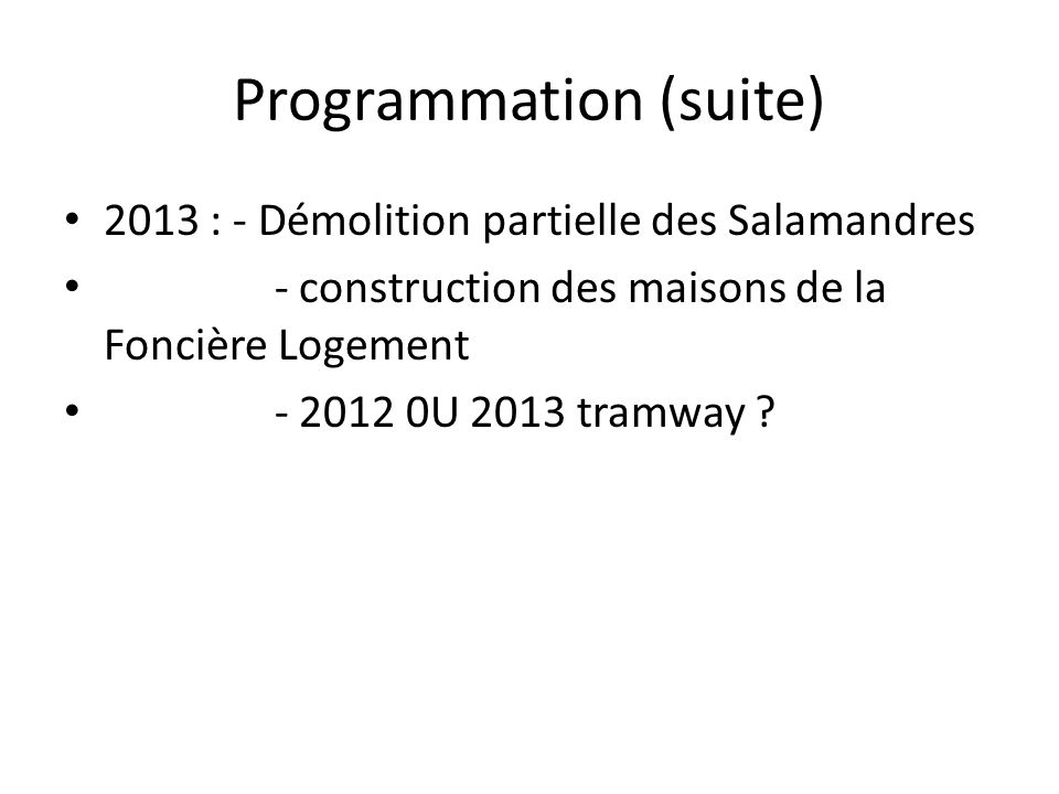 Programmation (suite)