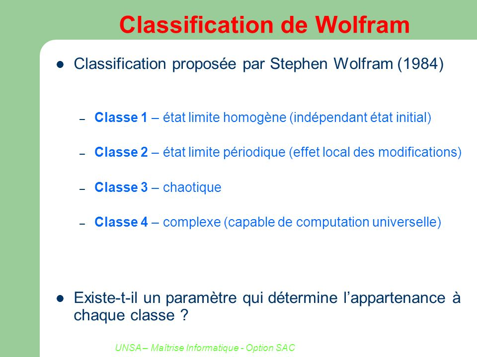 Classification de Wolfram